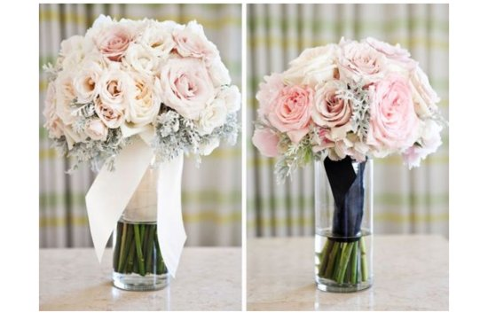photo of romantic wedding flowers pink ivory bridal bouquet