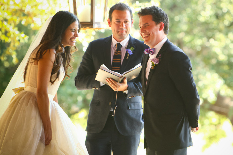 bride groom wedding ceremony vows laughing