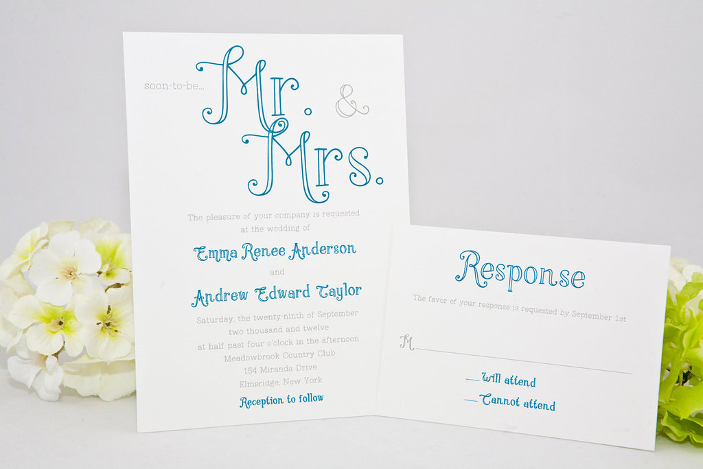 pretty calligraphy wedding invitations mr and mrs themed