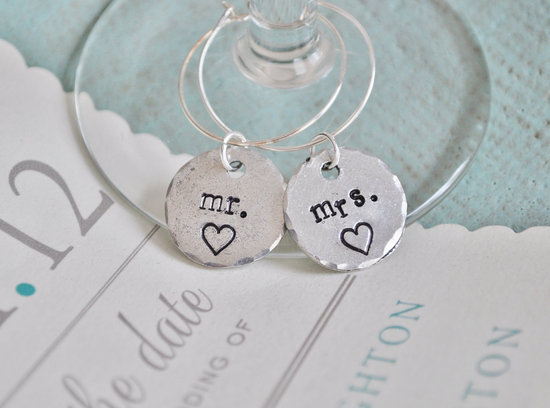 creative wedding ideas from Etsy Mr and Mrs decor silver wine charms