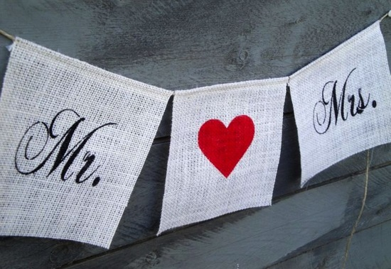 creative wedding ideas from Etsy Mr and Mrs decor white burlap red heart