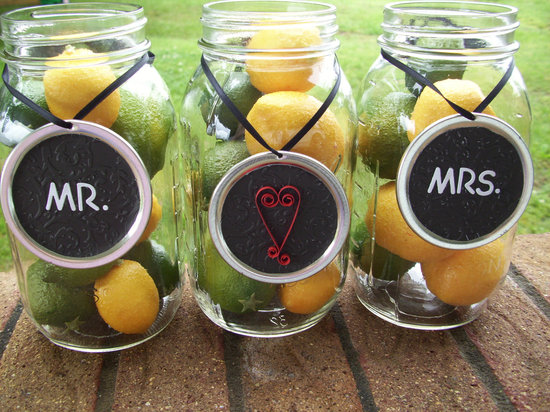 creative wedding ideas from Etsy Mr and Mrs decor mason jar centerpieces