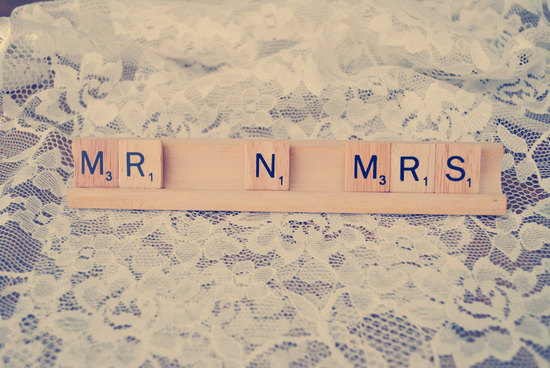 creative wedding ideas from Etsy Mr and Mrs decor scrabble