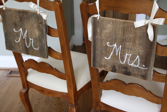 creative wedding ideas from Etsy Mr and Mrs decor rustic wood chalkboard cursive