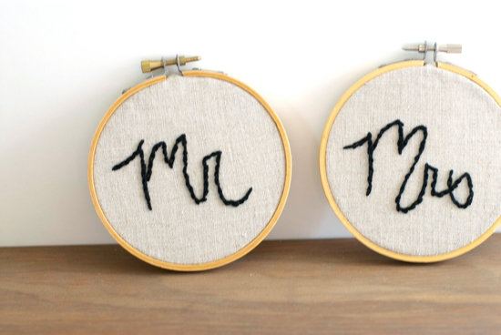 creative wedding ideas from Etsy Mr and Mrs decor embroidered hoops