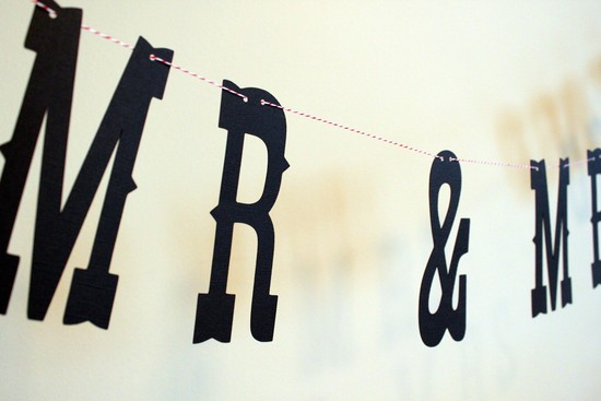 creative wedding ideas from Etsy Mr and Mrs decor banner
