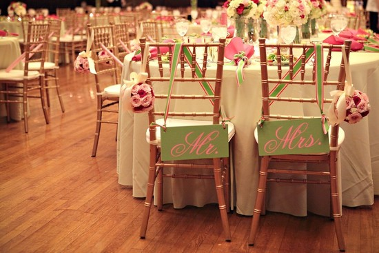 Creative wedding ideas from Etsy Mr and Mrs decor pink green signs.