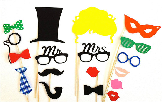 creative wedding ideas from Etsy Mr and Mrs decor colorful photobooth props