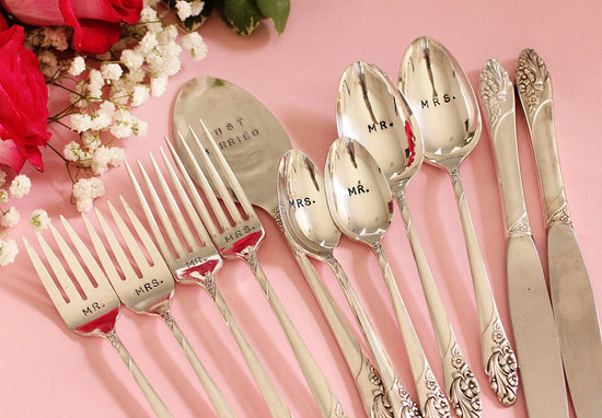 creative wedding ideas from Etsy Mr and Mrs decor flatware