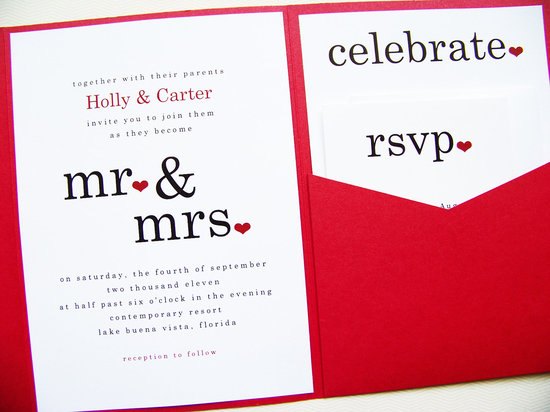 Creative wedding ideas from Etsy Mr and Mrs decor. Red and black invitations.