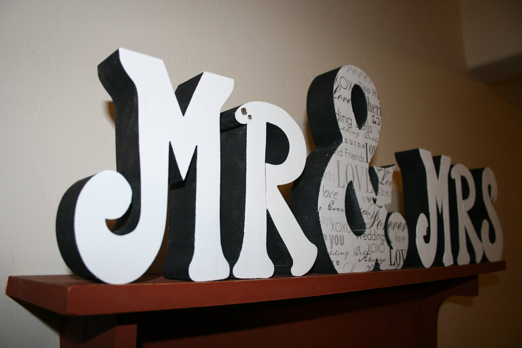 Creative wedding ideas from etsy mr and mrs decor painted wooden sign junglespirit Images