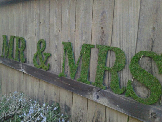 creative wedding ideas from Etsy Mr and Mrs decor moss sign