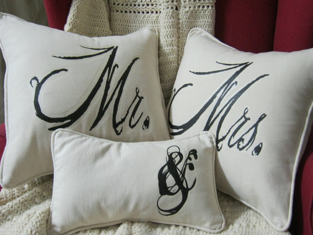 creative wedding ideas from Etsy Mr and Mrs decor country vintage pillows