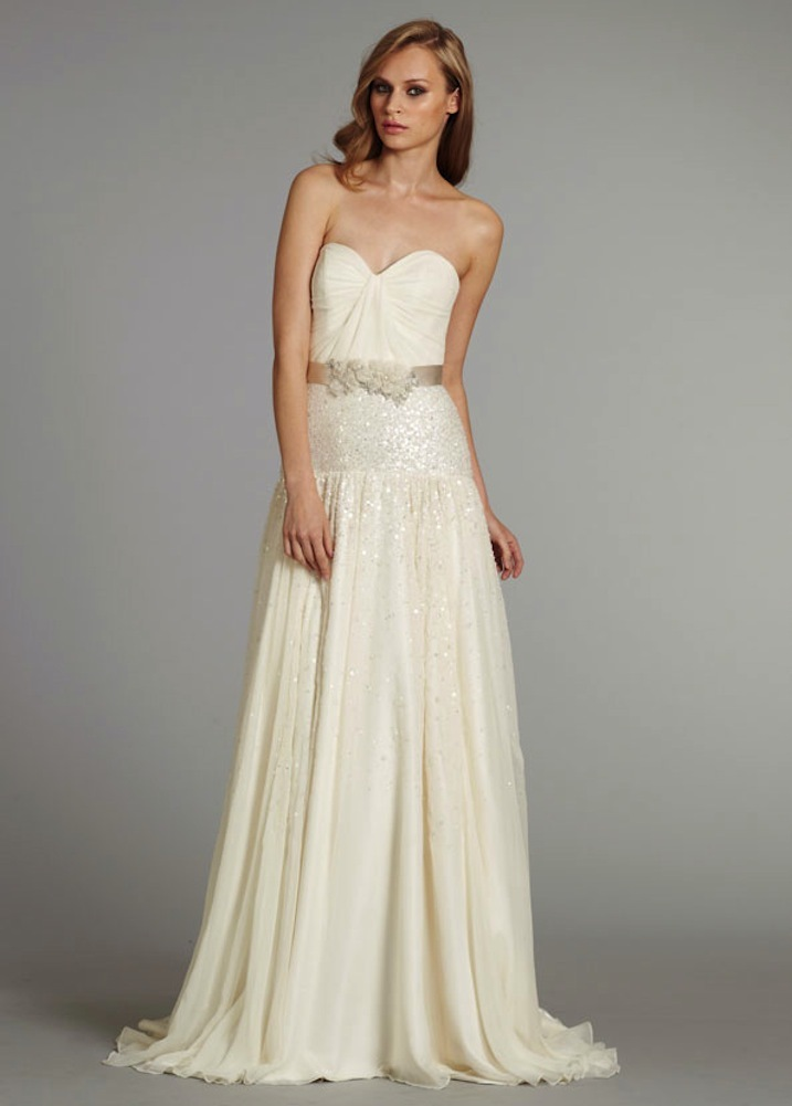 photo of hayley paige bridal dropped a line gown sweetheart skirt floral satin sash natural waist chapel trai