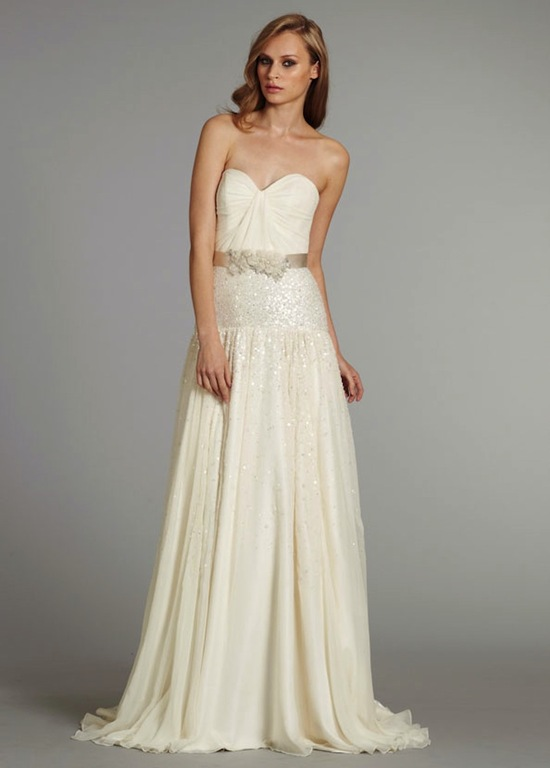 hayley paige bridal dropped a line gown sweetheart skirt floral satin sash natural waist chapel trai