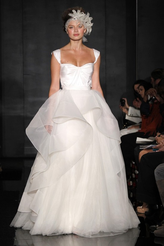 2012 wedding dress trend, peplums- Reem Acra