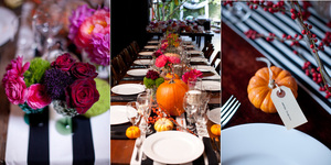 photo of Artsy Halloween Wedding in Los Angeles- pumpkin reception decor