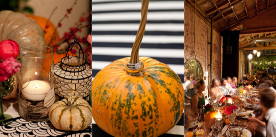 Artsy Halloween Wedding in Los Angeles- pumpkin reception decor