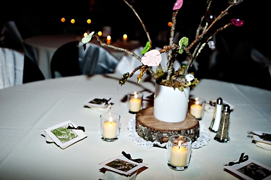 Real wedding in Seattle- rustic bird themed reception details
