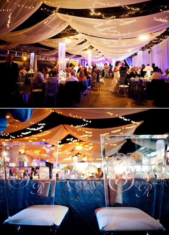 photo of elegant spring wedding with blue, silver, ivory wedding color palette- winery venue