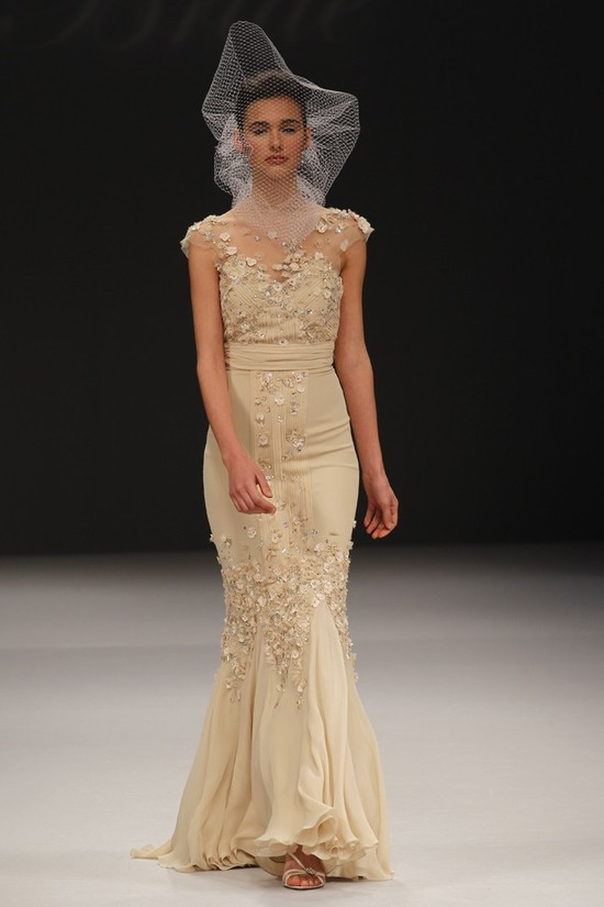 Badgley Mischka wedding dresses, Spring 2012 bridal gown- non-white, nude dresses