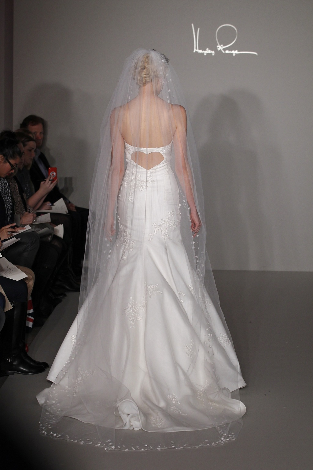 Hayley Paige 2012 wedding dress- lace mermaid with open heart-shaped back