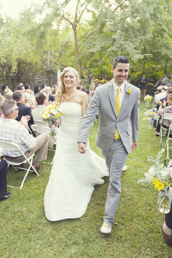 Yellow and White theme outdoor wedding.