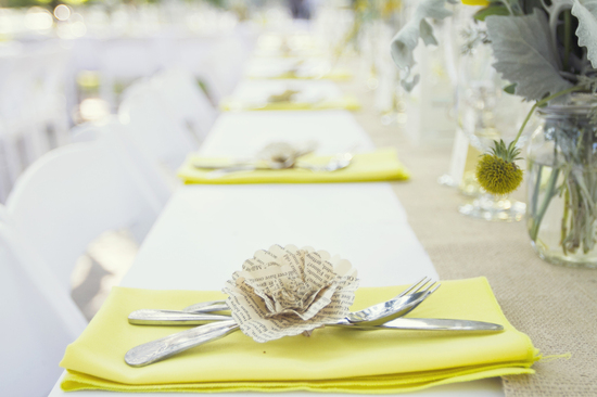 Yellow  and white vintage wedding reception decor chalkboard chic.
