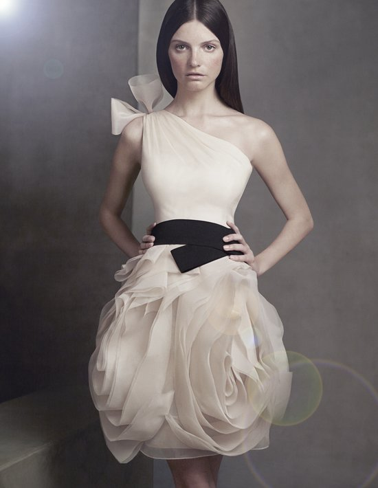 white by vera wang 2012 bridesmaid dress illusion neckline grey with black sash