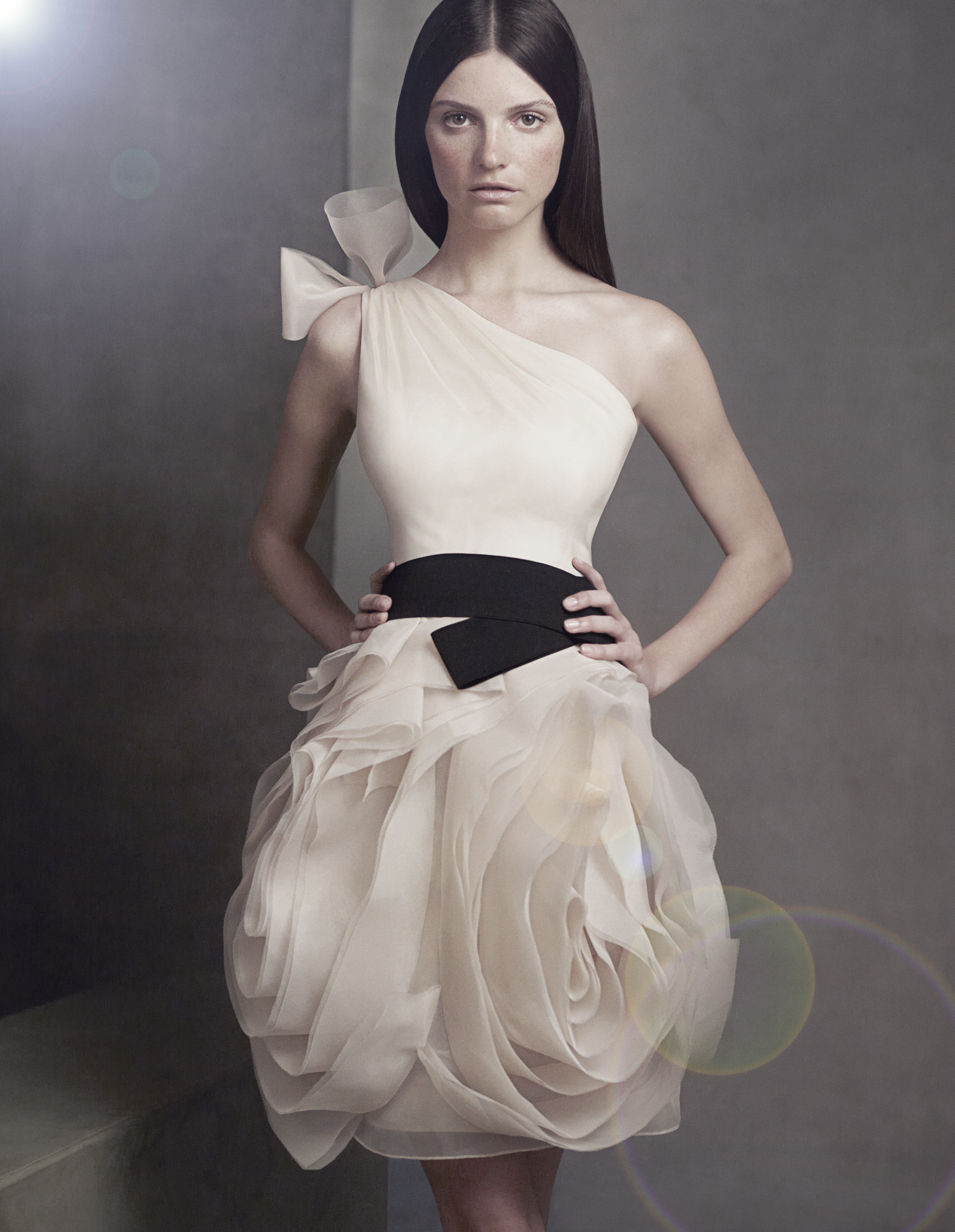 white by vera wang 2012 bridesmaid dress illusion neckline