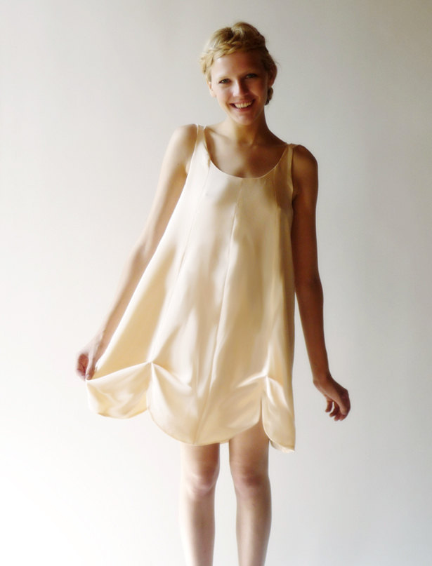 dahl wedding dress peach halter above the knee