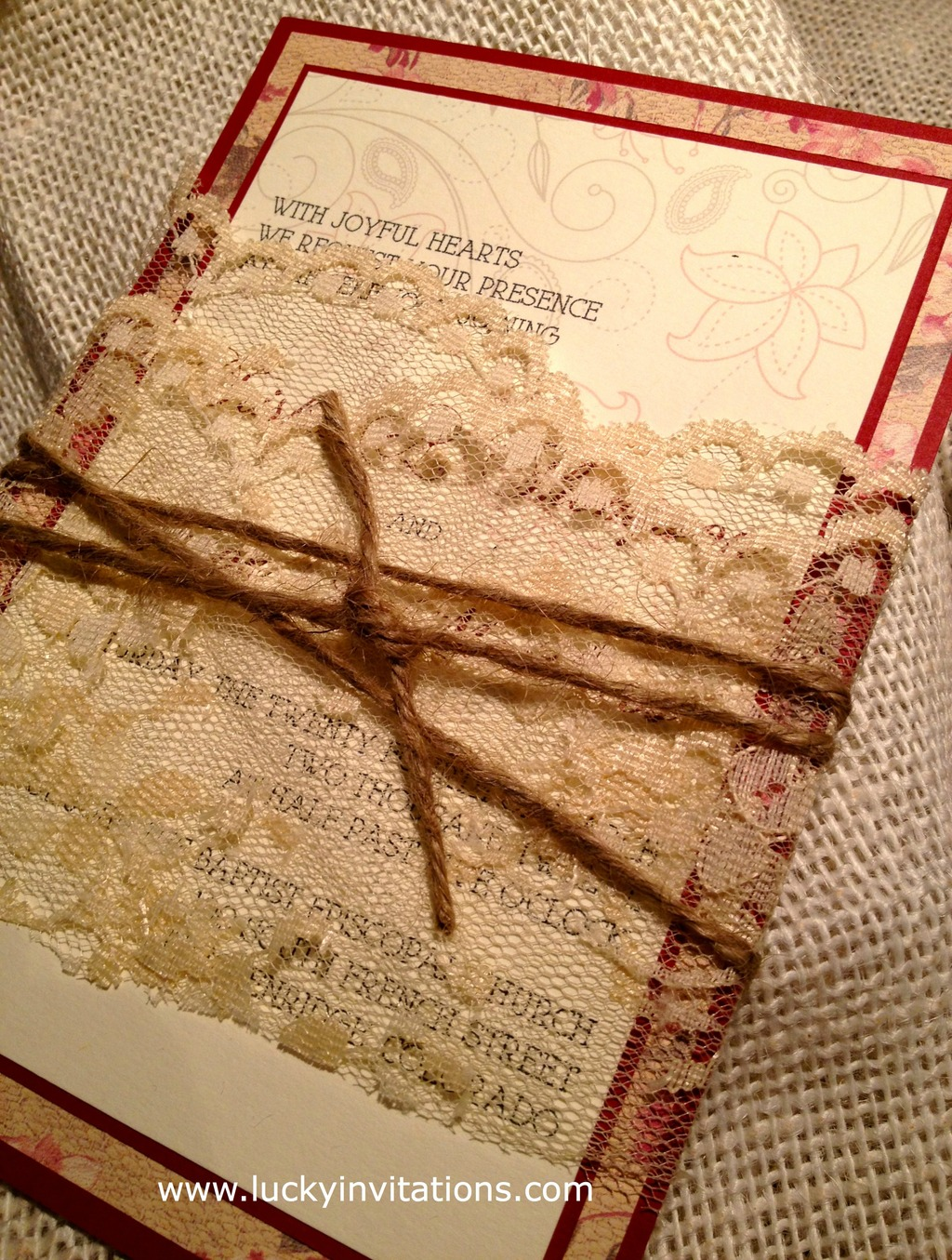 Lace and Twine Wedding Invitation