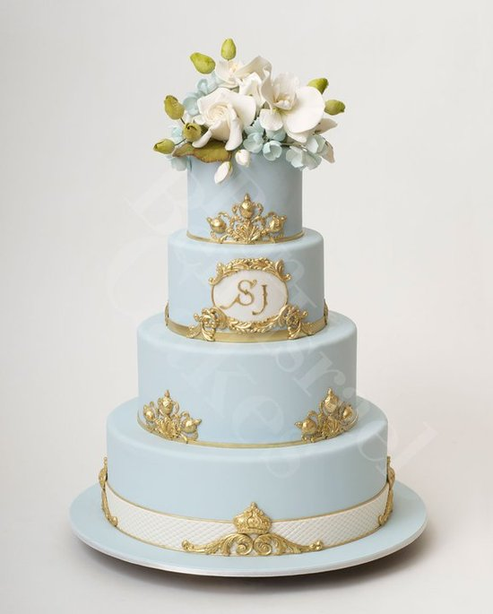 photo of wedding-cake-inspiration-Ron-Ben-Isreal-Cakes-ice-blue-gold