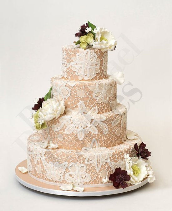 photo of wedding-cake-inspiration-Ron-Ben-Isreal-Cakes-nude-ivory-lace