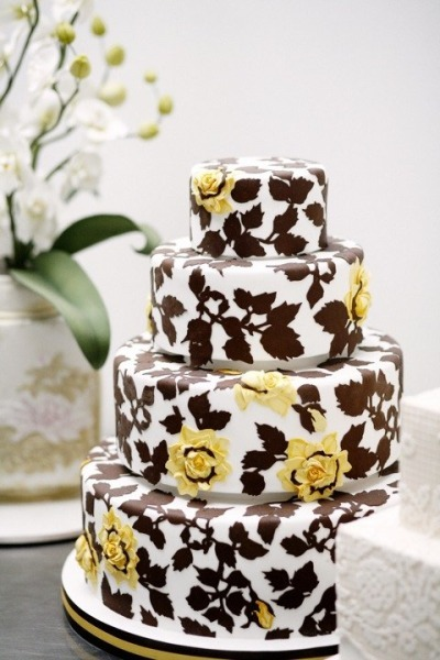 photo of wedding-cake-inspiration-Ron-Ben-Isreal-Cakes-chocolate-brown-lemon-yellow-white