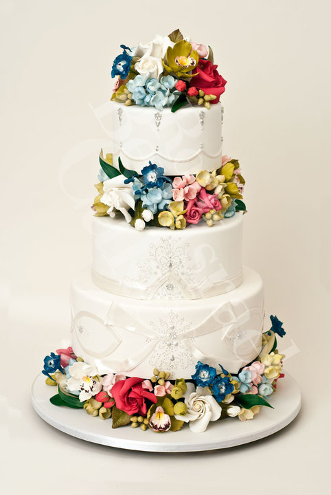 photo of wedding-cake-inspiration-Ron-Ben-Isreal-wedding-cakes-white-silver-spring-flowers