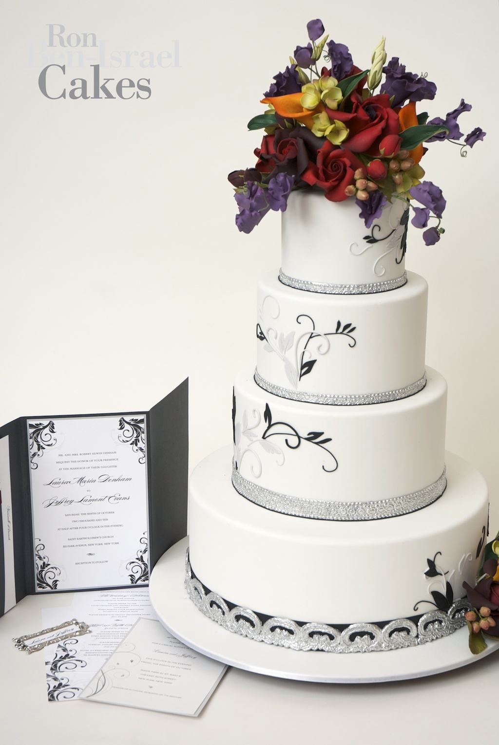 wedding-cake-inspiration-Ron-Ben-Isreal-wedding-cakes-white-silver-with-fall-florals