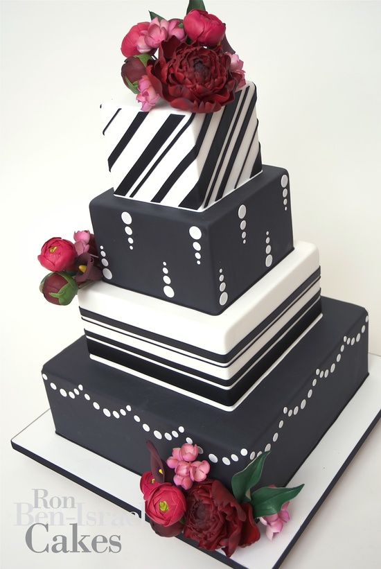 photo of wedding-cake-inspiration-Ron-Ben-Isreal-wedding-cakes-black-white-red