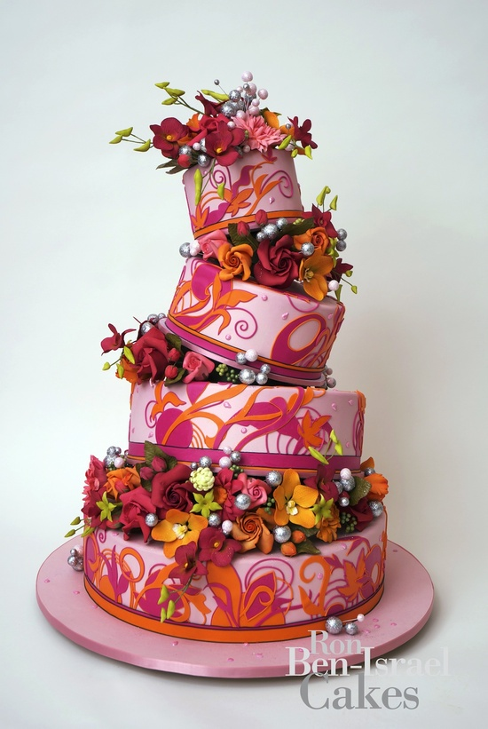 photo of wedding-cake-inspiration-Ron-Ben-Isreal-wedding-cakes-pink-orange-funky-floral