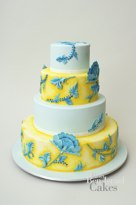 photo of wedding-cake-inspiration-Ron-Ben-Isreal-wedding-cakes-aqua-lemon-yellow