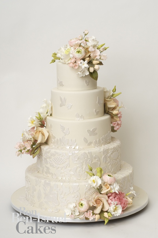 photo of wedding-cake-inspiration-Ron-Ben-Isreal-wedding-cakes-ivory-with-pastel-flowers