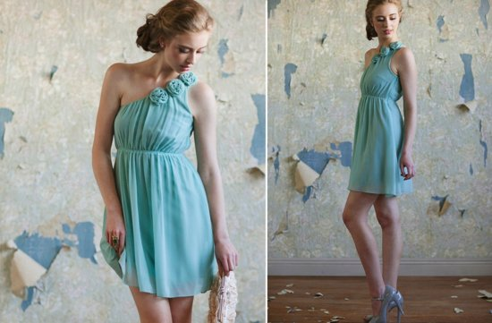 Ruche-bridesmaids-dresses-stylish-bridal-party-attire-aqua