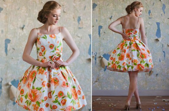 Ruche-bridesmaids-dresses-stylish-bridal-party-attire-floral-printed-orange-white