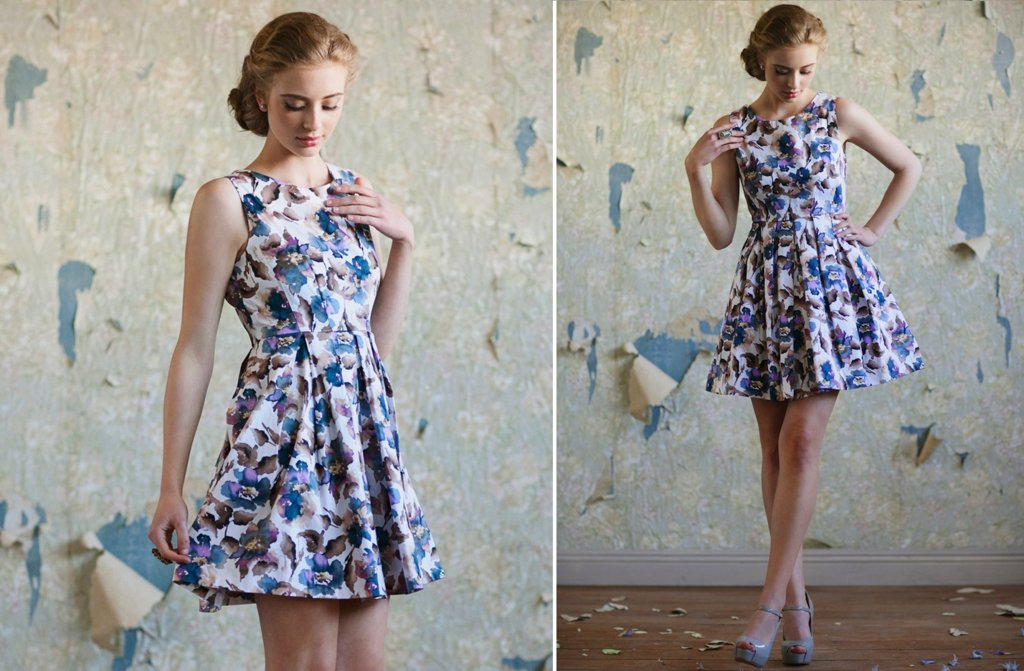 Ruche-bridesmaids-dresses-stylish-bridal-party-attire-floral-printed-blue-purple-white
