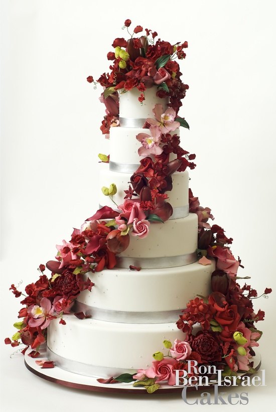photo of wedding-cake-inspiration-Ron-Ben-Isreal-wedding-cakes-red-pink-cascading-florals