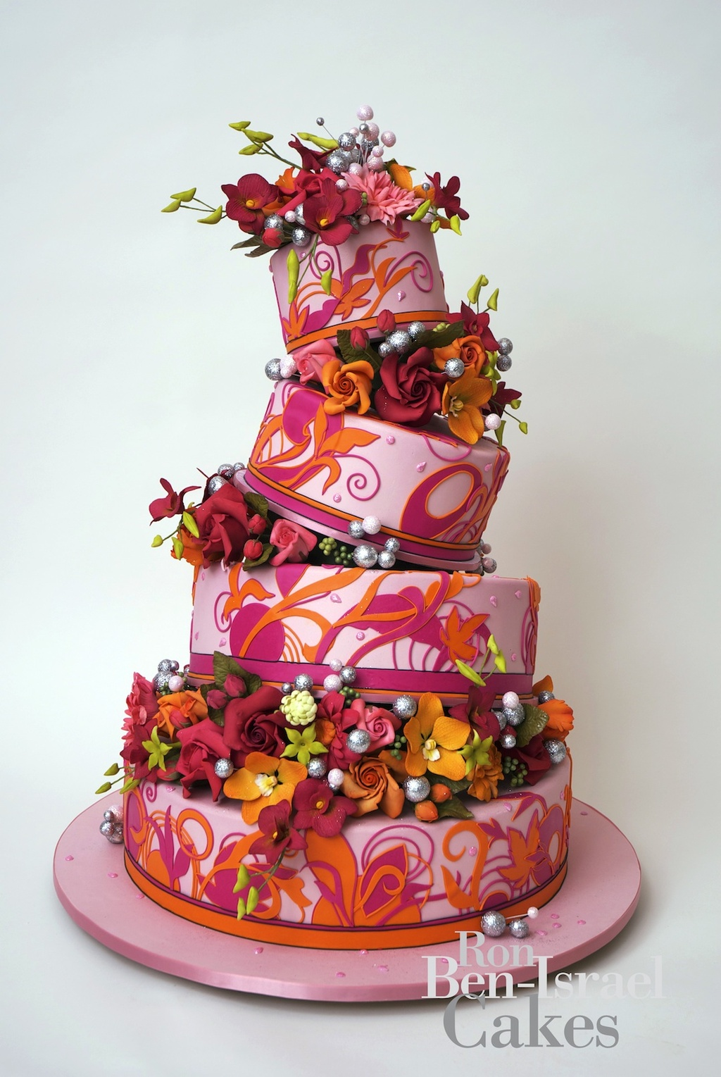 wedding-cake-inspiration-Ron-Ben-Isreal-wedding-cakes-pink-orange-funky-floral