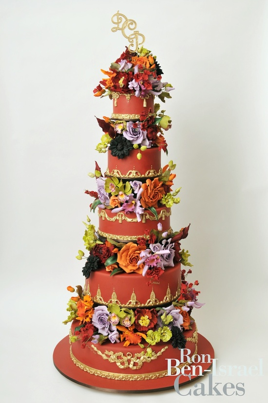 wedding-cake-inspiration-Ron-Ben-Isreal-wedding-cakes-terra-cotta-with-colorful-blooms