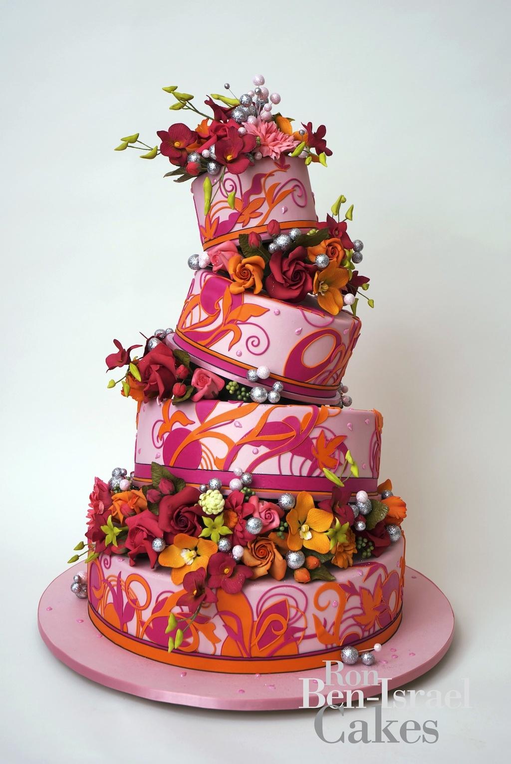 Wedding-cake-inspiration-ron-ben-isreal-wedding-cakes-pink-orange-funky-floral.original.full