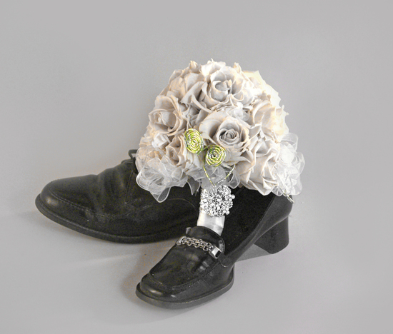 White Rose Bouquet, Black Shoes