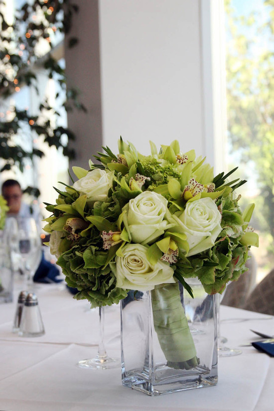 Bouquet in vase on table